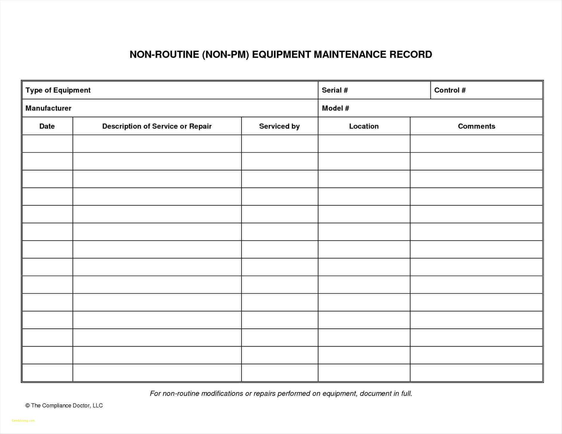Heavy Equipment Maintenance Spreadsheet