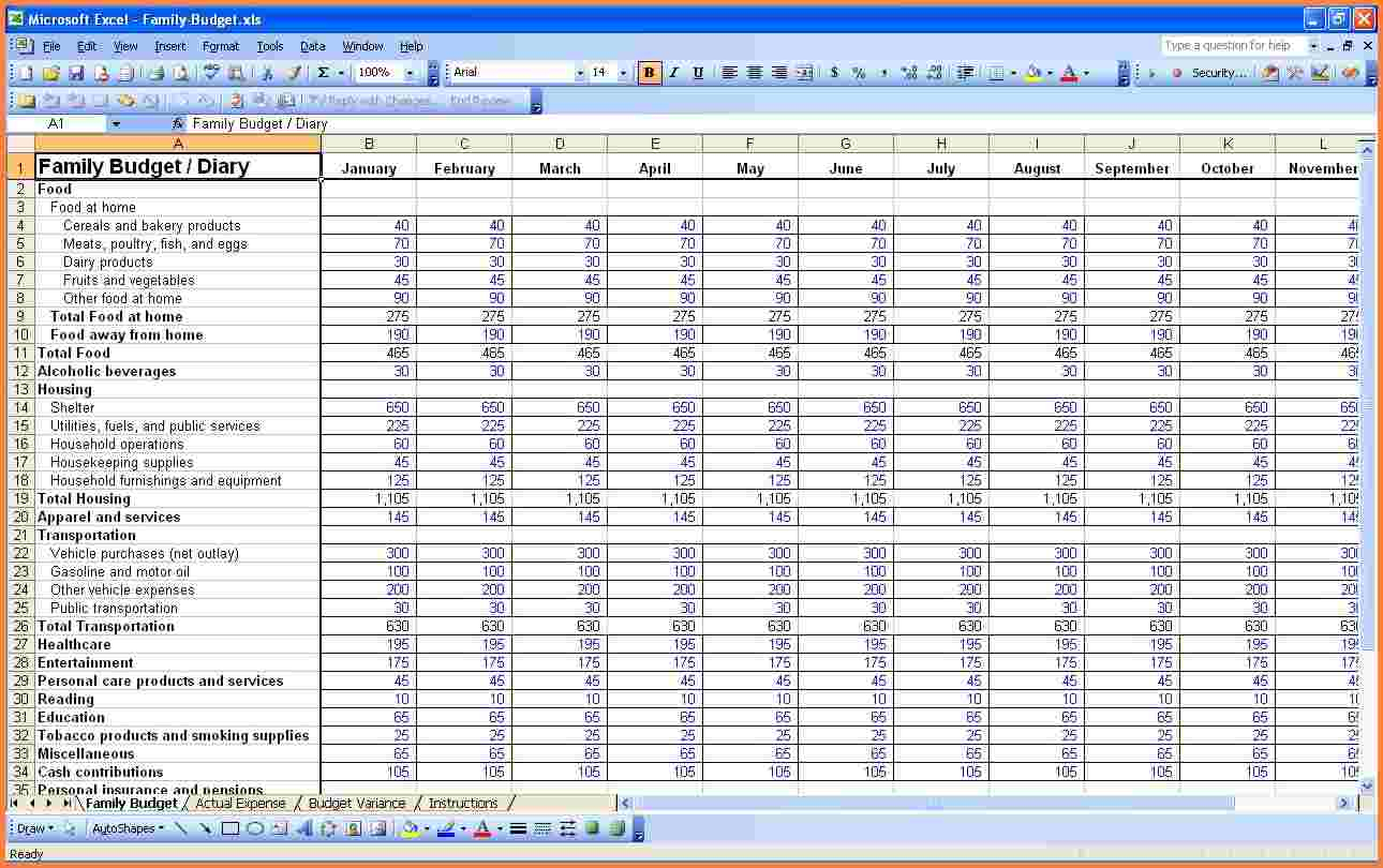 Home Budget Expenses Spreadsheet Inside Budget Worksheet