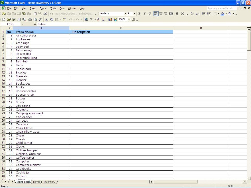 Home Inventory Spreadsheet For Household Inventory