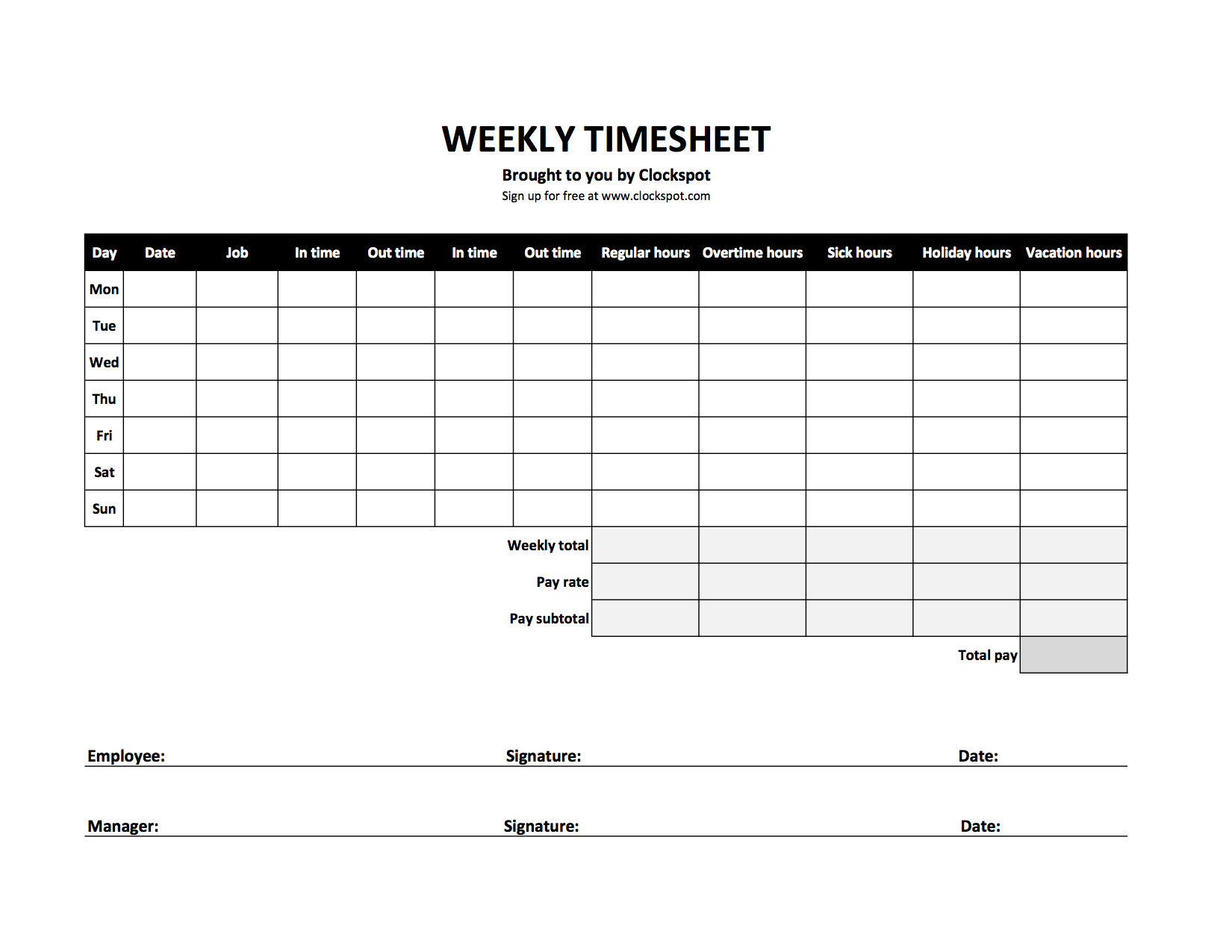 Hourly Time Tracking Spreadsheet