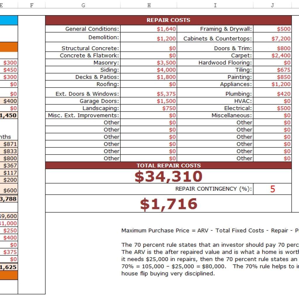 House Flip Spreadsheet Excel Pertaining To Fixnflip Rehab