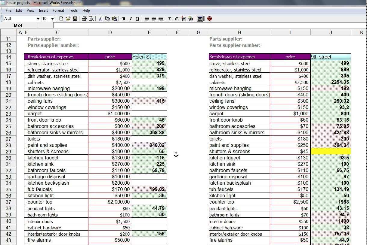 House Flip Spreadsheet Worksheet