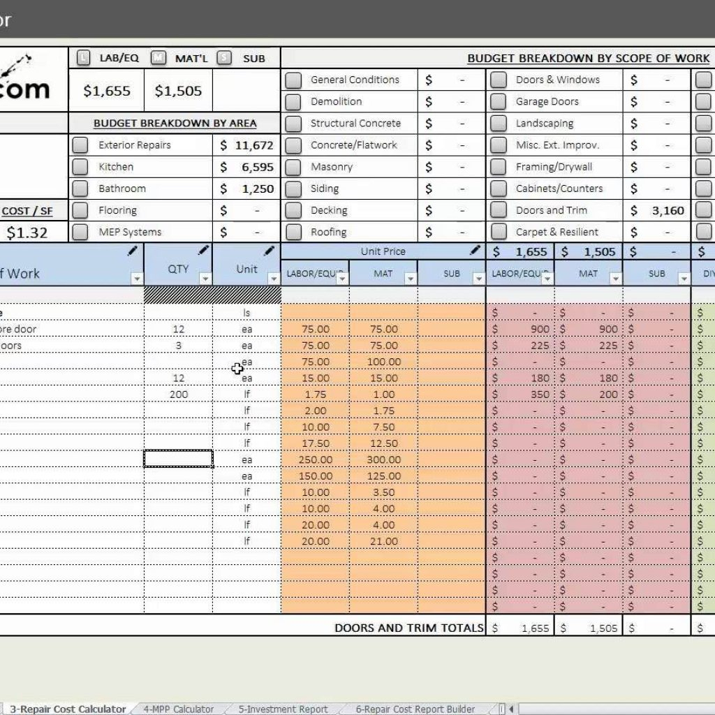 House Flipping Cost Spreadsheet Inside House Flipping