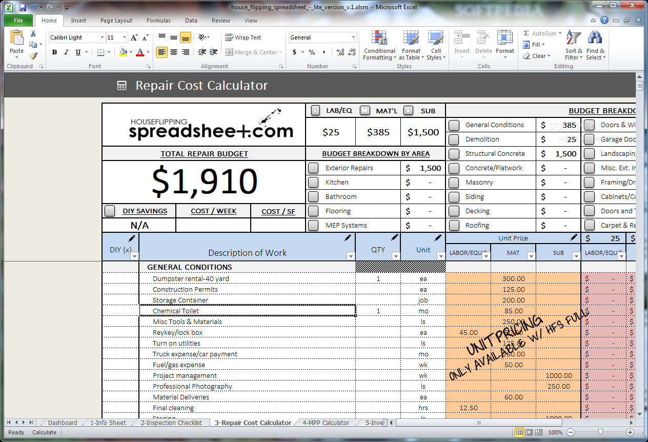 House Flipping Expense Spreadsheet Throughout Download