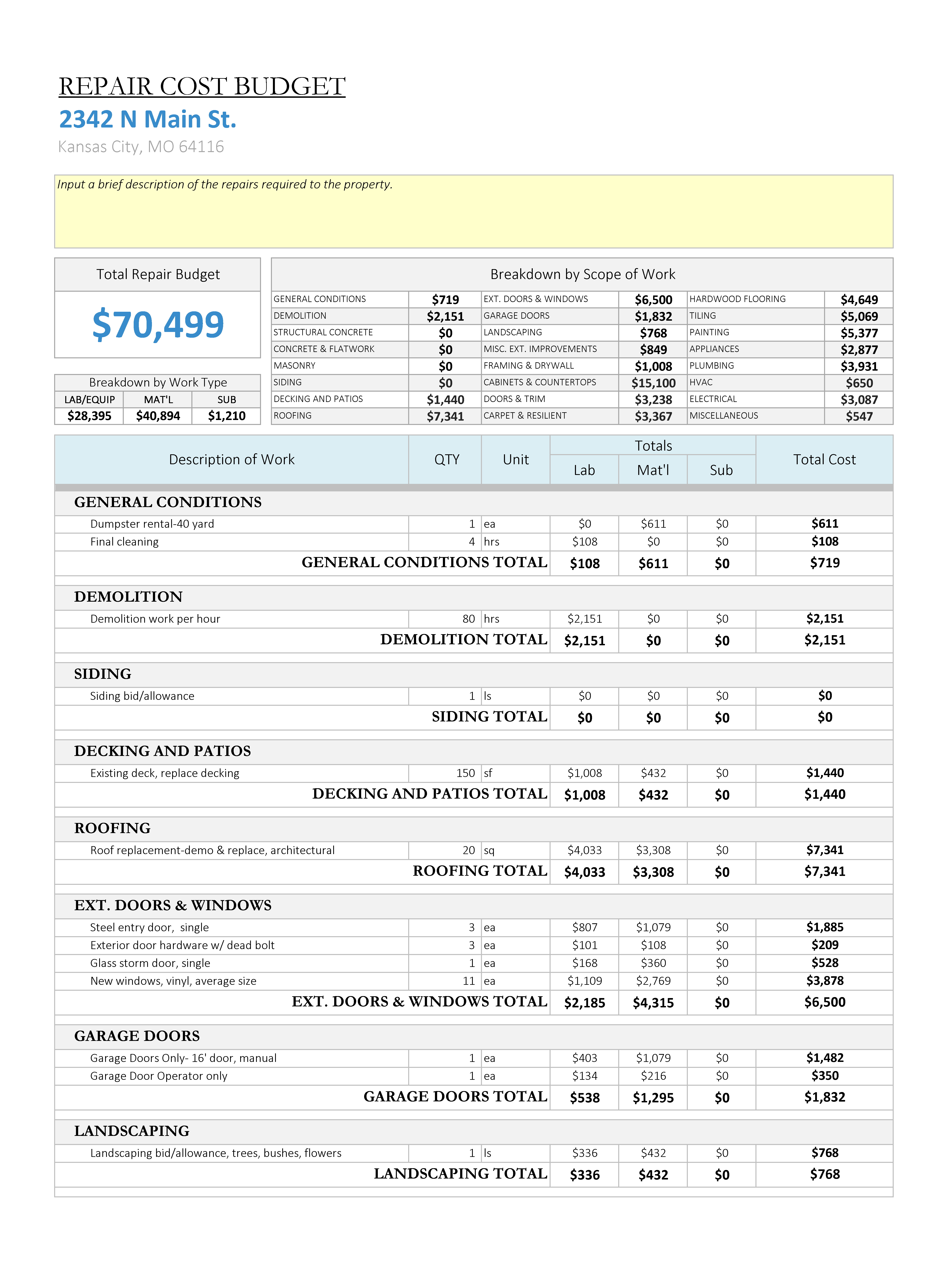 House Flipping Spreadsheet Download Throughout House