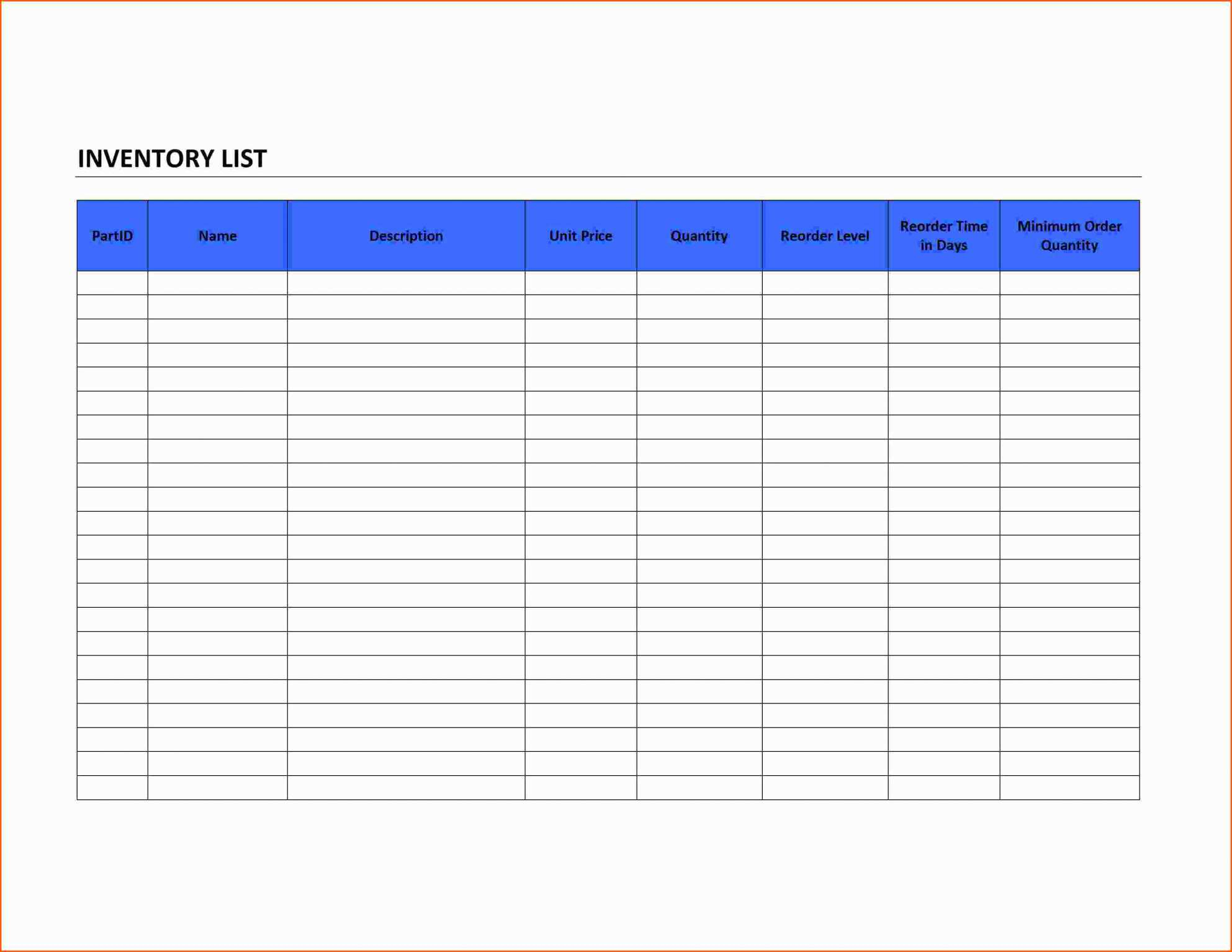 House Inventory Spreadsheet For Jewelry Inventory