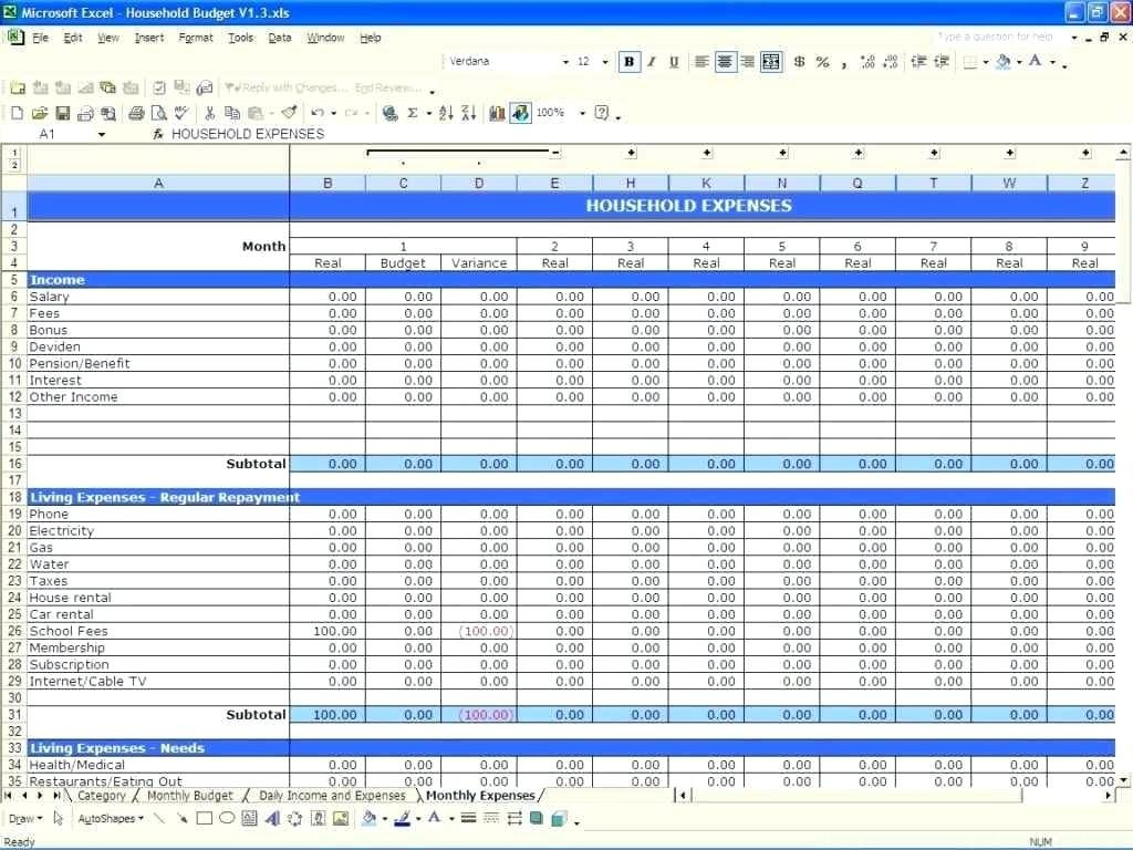 Income And Expenses Excel Spreadsheet Within Excel Sheet