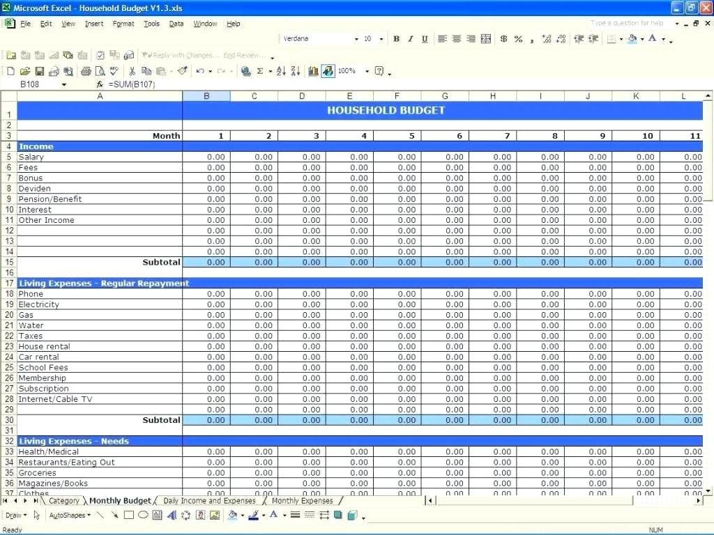Income Expenditure Spreadsheet Excel With Regard To