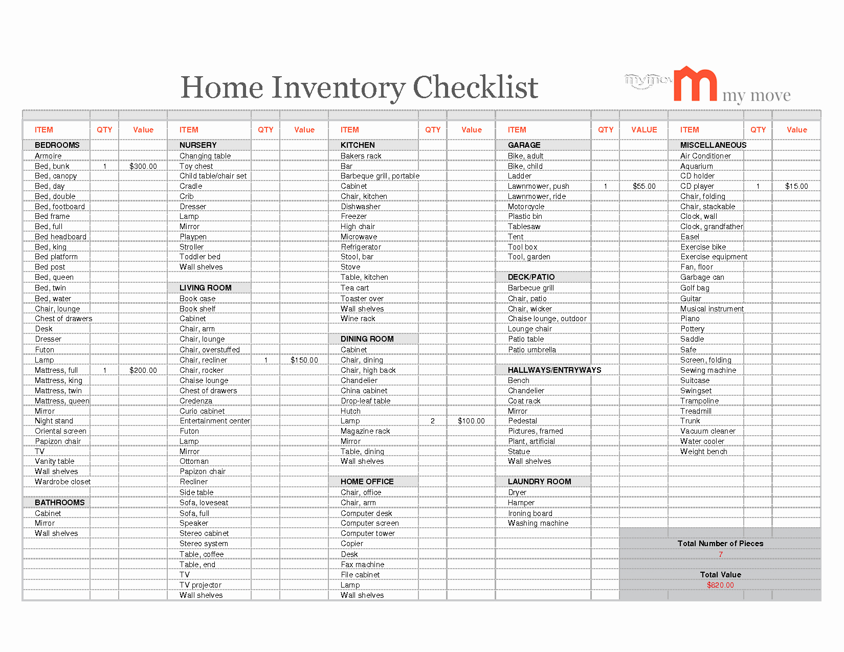 Inventory Household Items Excel Spreadsheet Spreadsheet