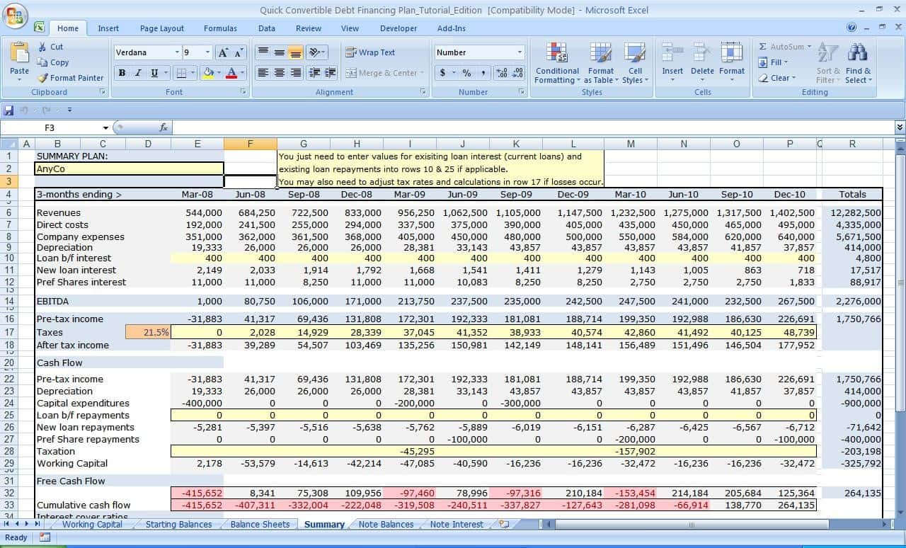 Inventory Planning Spreadsheet For Financial Planning