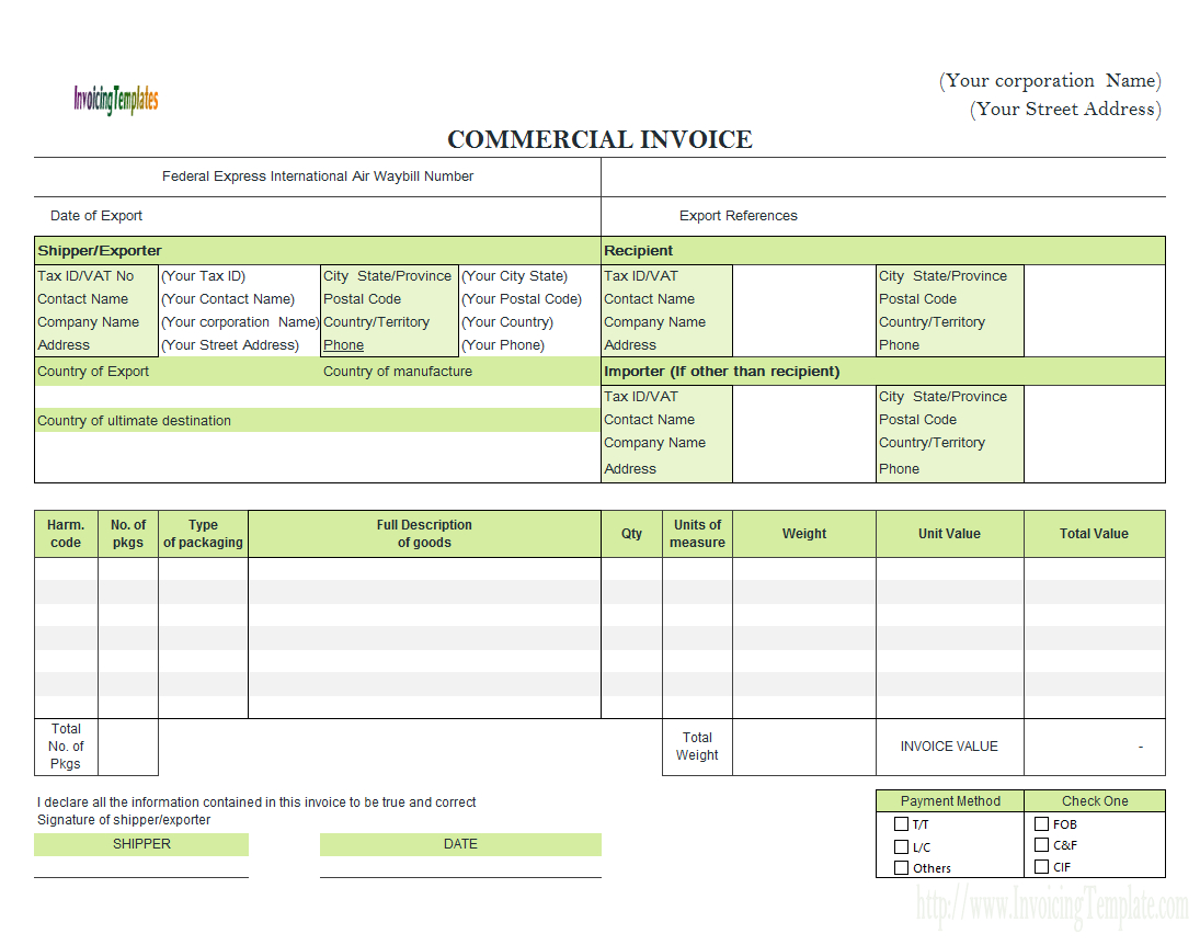 Invoice Spreadsheet Template Free For Commercial Invoice