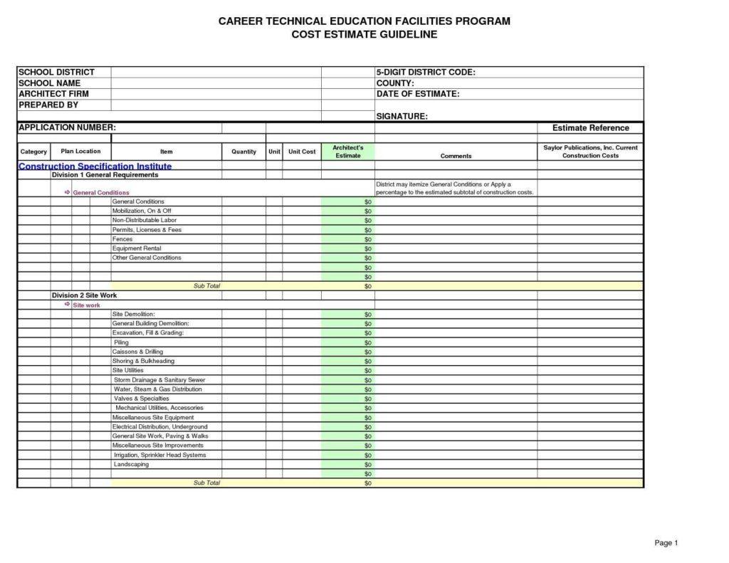 Irrigation Spreadsheets Excel Inside Builders Estimate