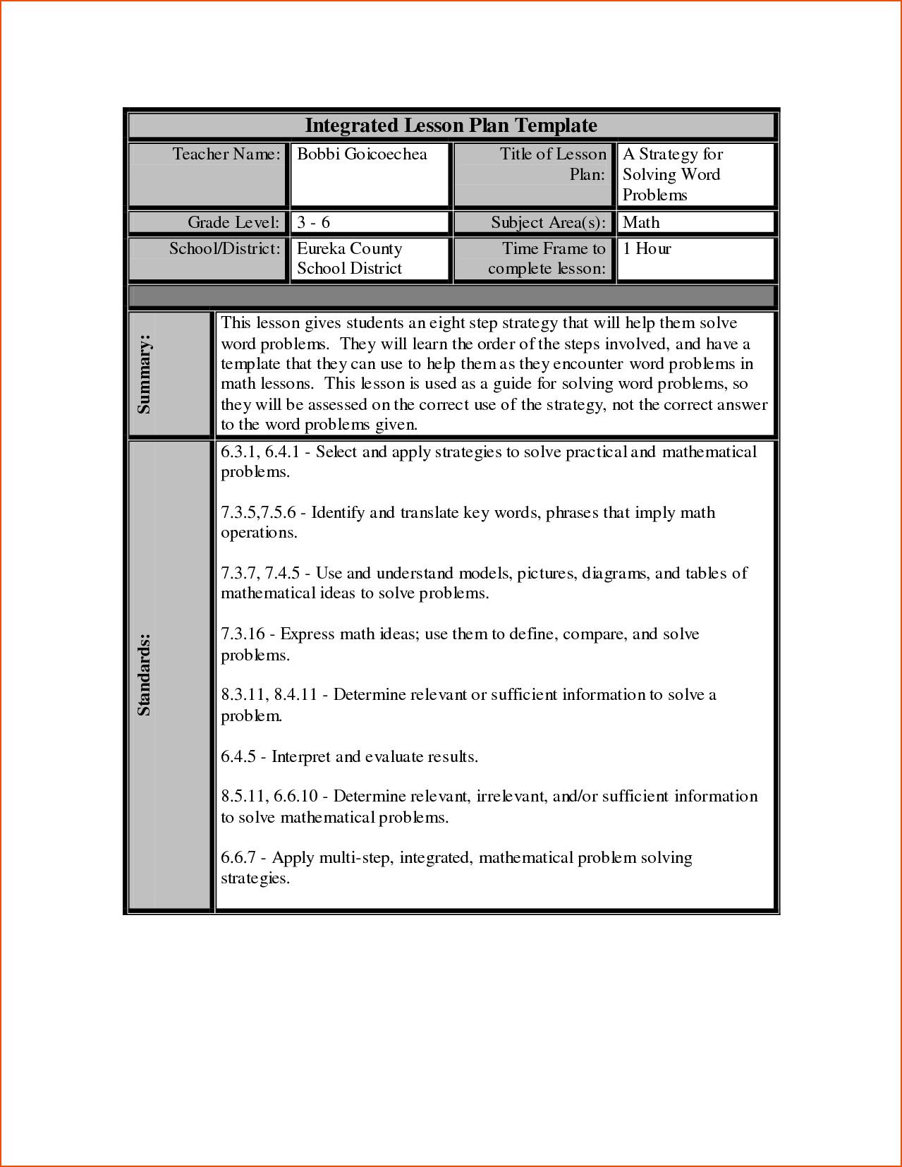 Lesson Plan For Excel Spreadsheet Regarding Lesson Plan