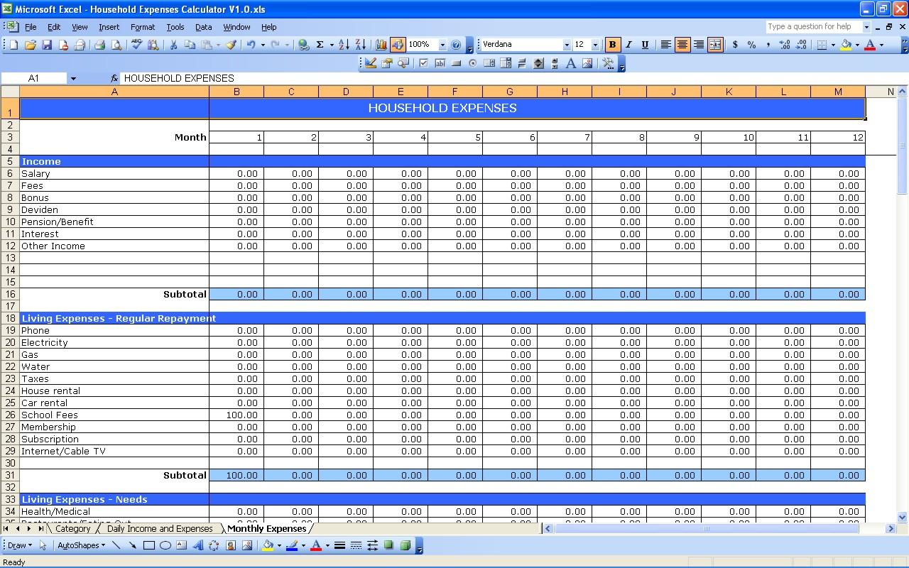 Living Expenses Spreadsheet Spreadsheet Downloa Living