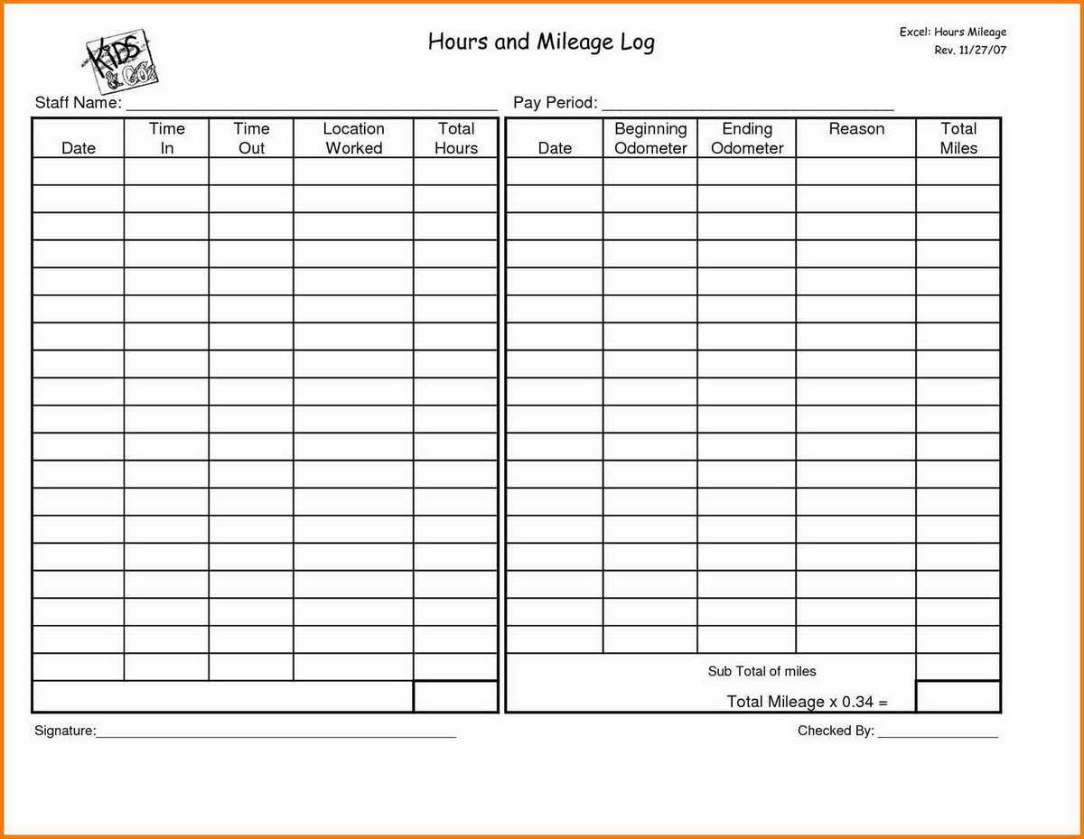 Mileage Expense Spreadsheet Template For Mileage Form