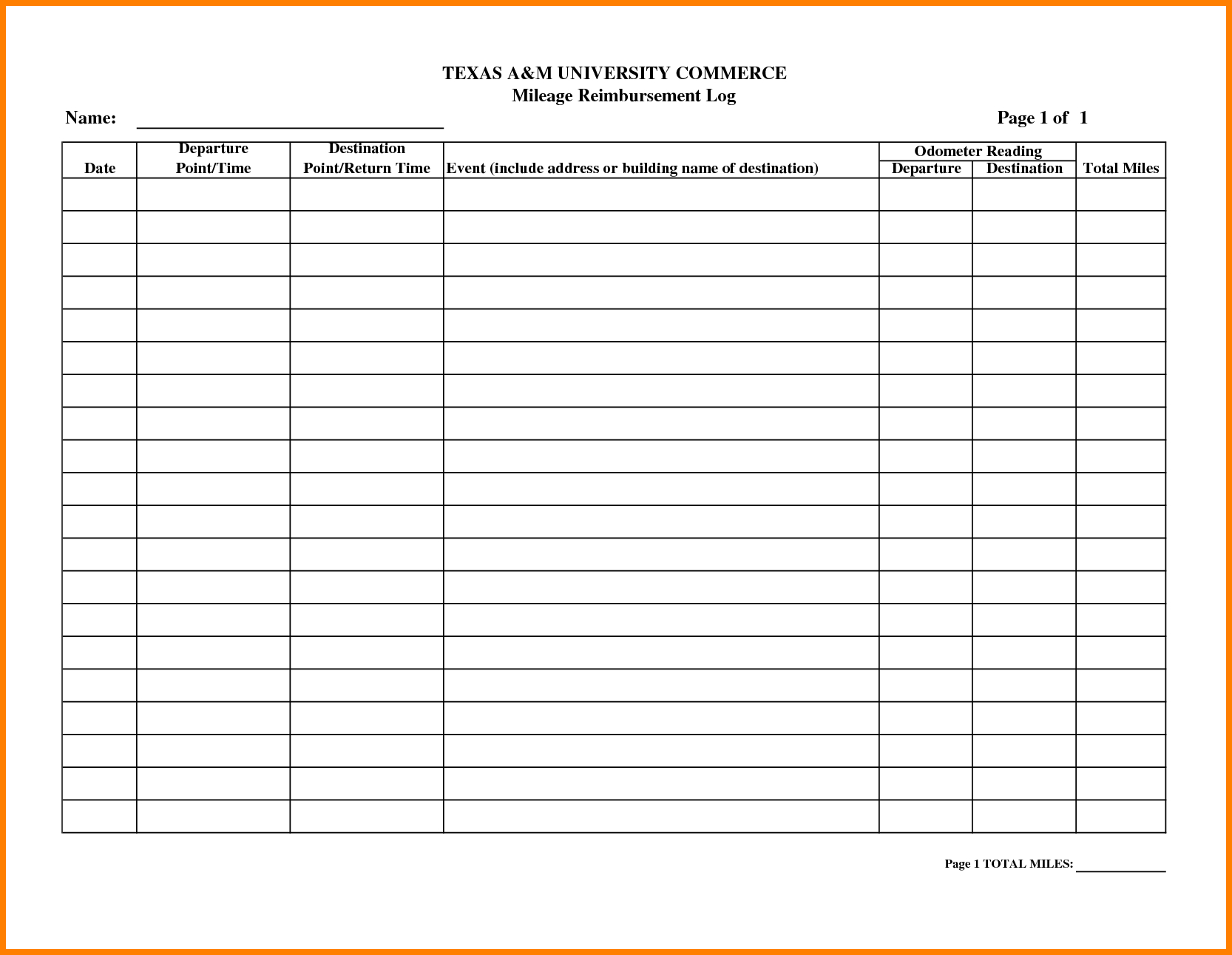 Mileage Reimbursement Spreadsheet Spreadsheet Downloa