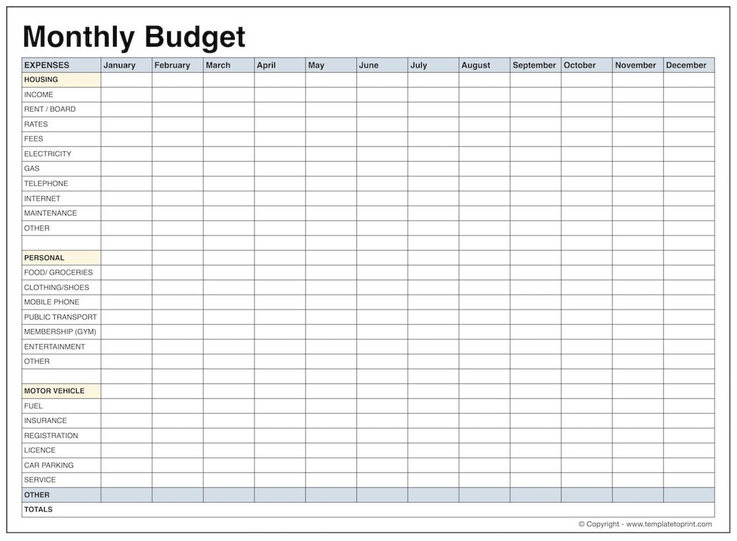 Monthly Cost Spreadsheet With Printable Budget Worksheet