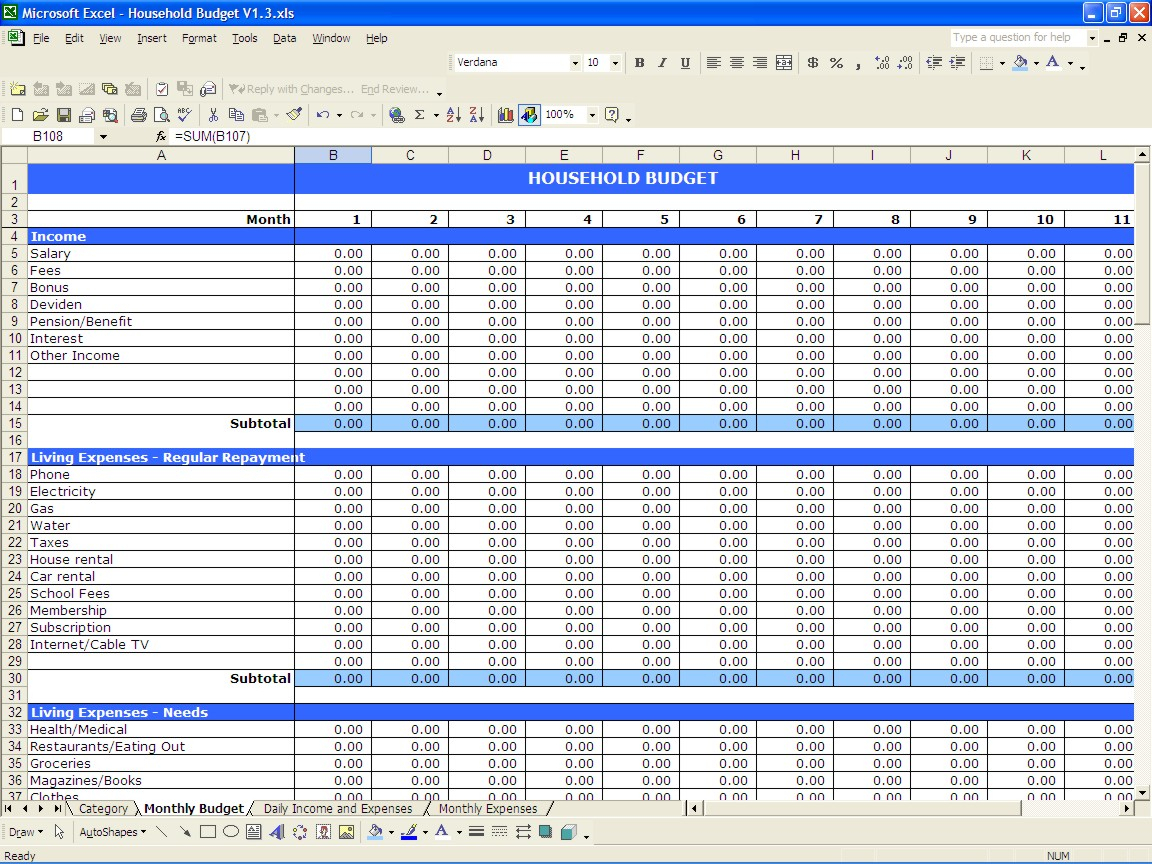 Monthly Outgoings Spreadsheet In Household Spreadsheet