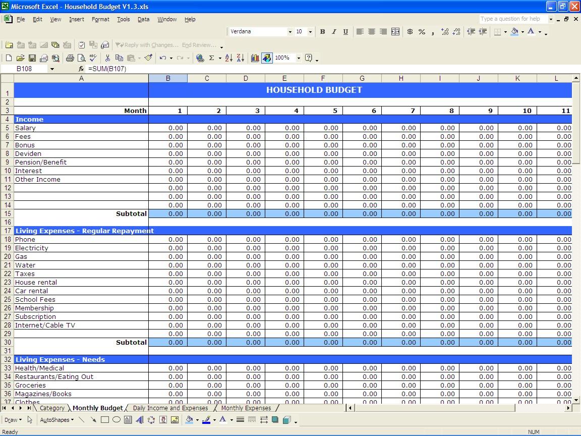 open office budget template