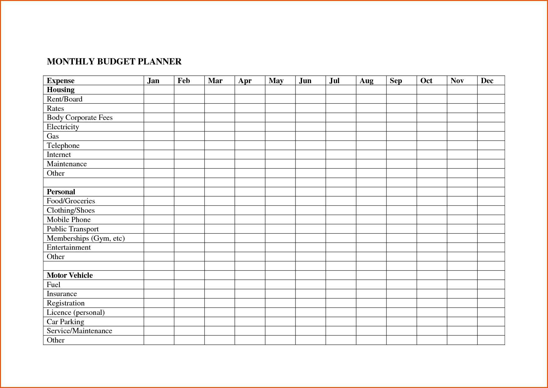 Monthly Outgoings Spreadsheet Template Spreadshee