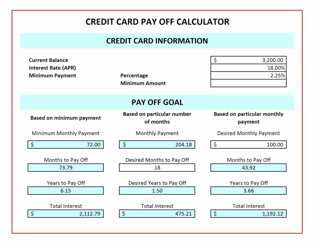 Multiple Credit Card Payoff Calculator Spreadsheet With