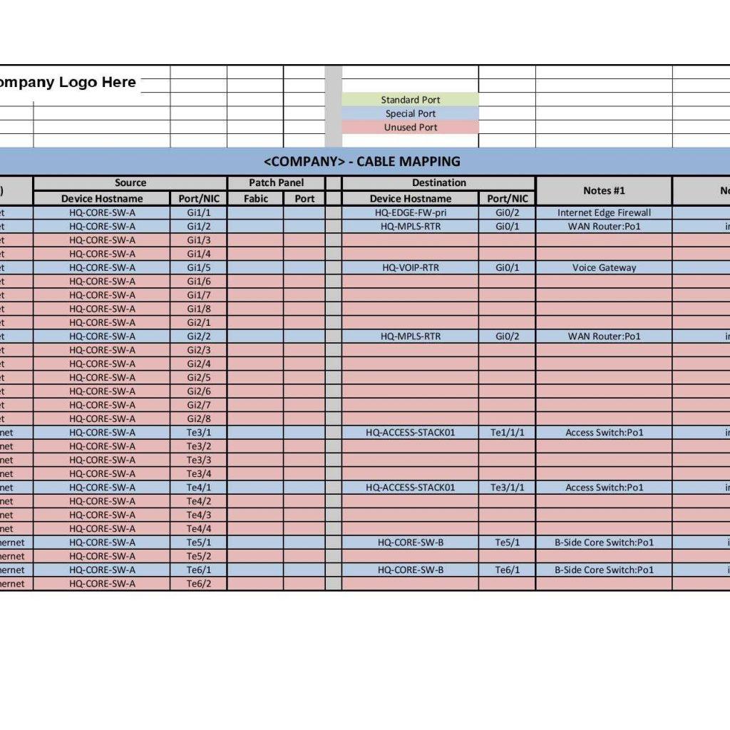 Network Cabling Spreadsheet Spreadshee Network Cabling Spreadsheet