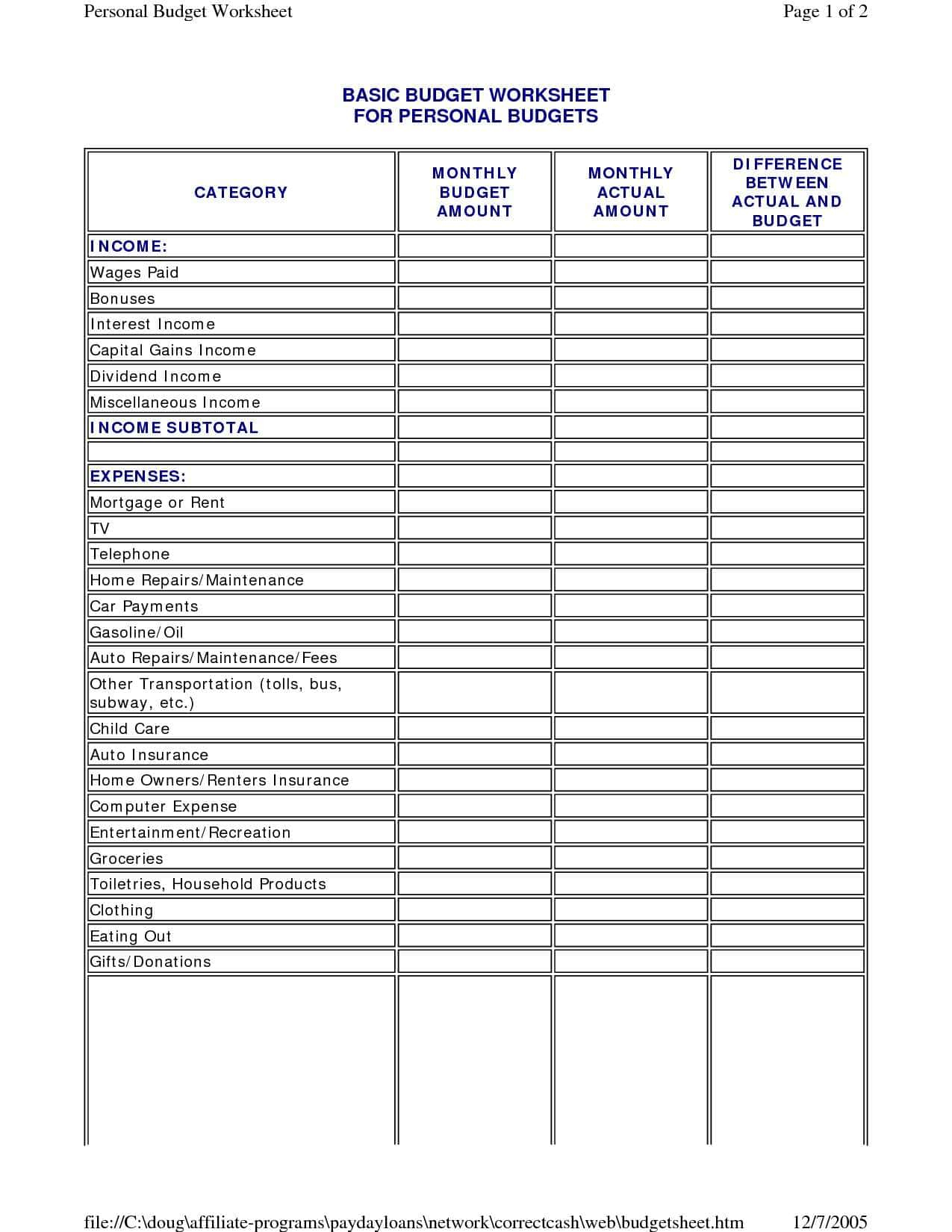 Online Budget Spreadsheet With Online Budget Worksheet
