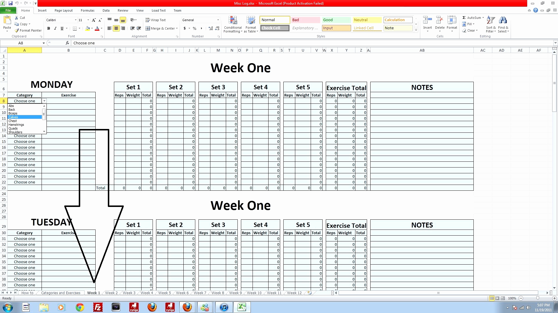 P90x Spreadsheet Docs Intended For 50 Beautiful