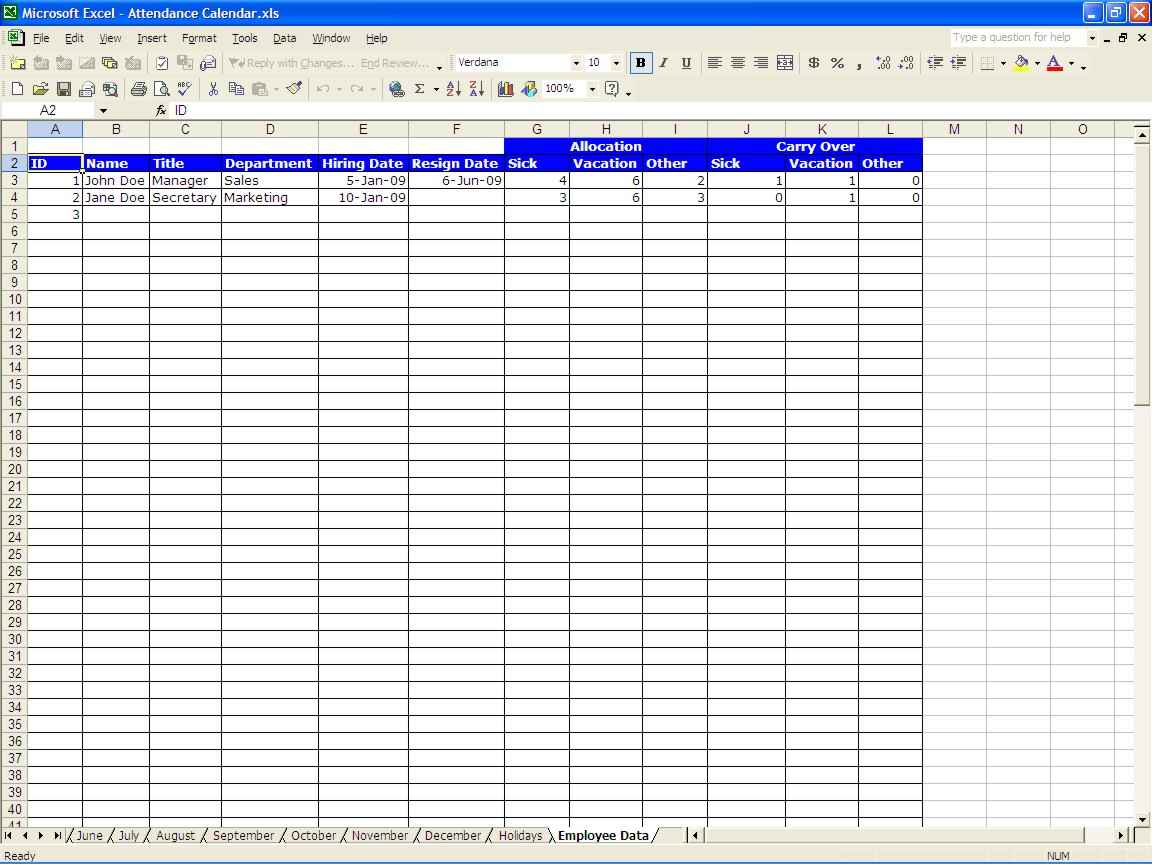 Paid Time Off Tracking Spreadsheet Inside Employee Paid