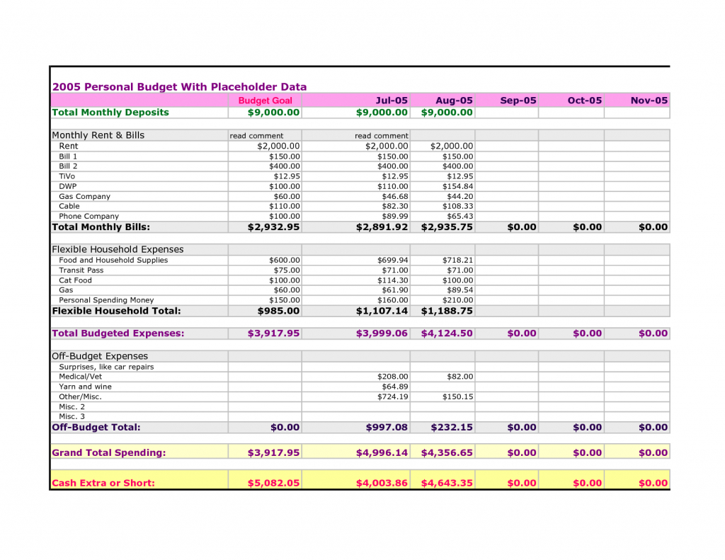 Pearbudget Spreadsheet Pertaining To Pear Budget