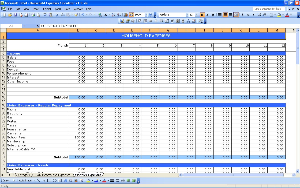 Personal Accounting Spreadsheet Spreadshee Personal