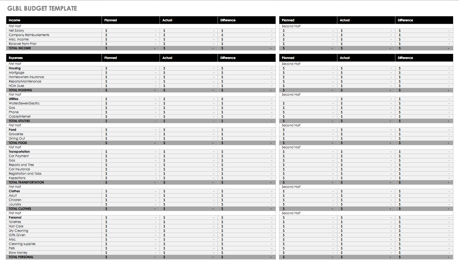 Personal Accounts Spreadsheet Template Printable Spreadshee Personal Budget Spreadsheet Template