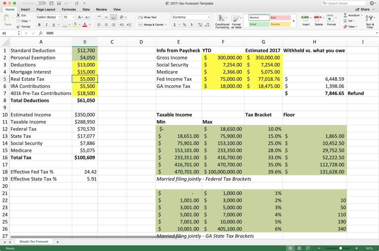 Personal Income Tax Spreadsheet In Personal Income Tax
