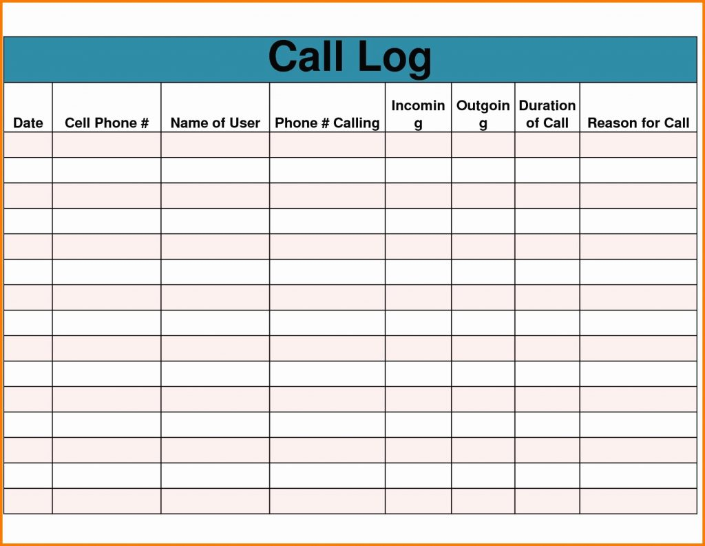 Phone Call Tracking Spreadsheet Db Excel