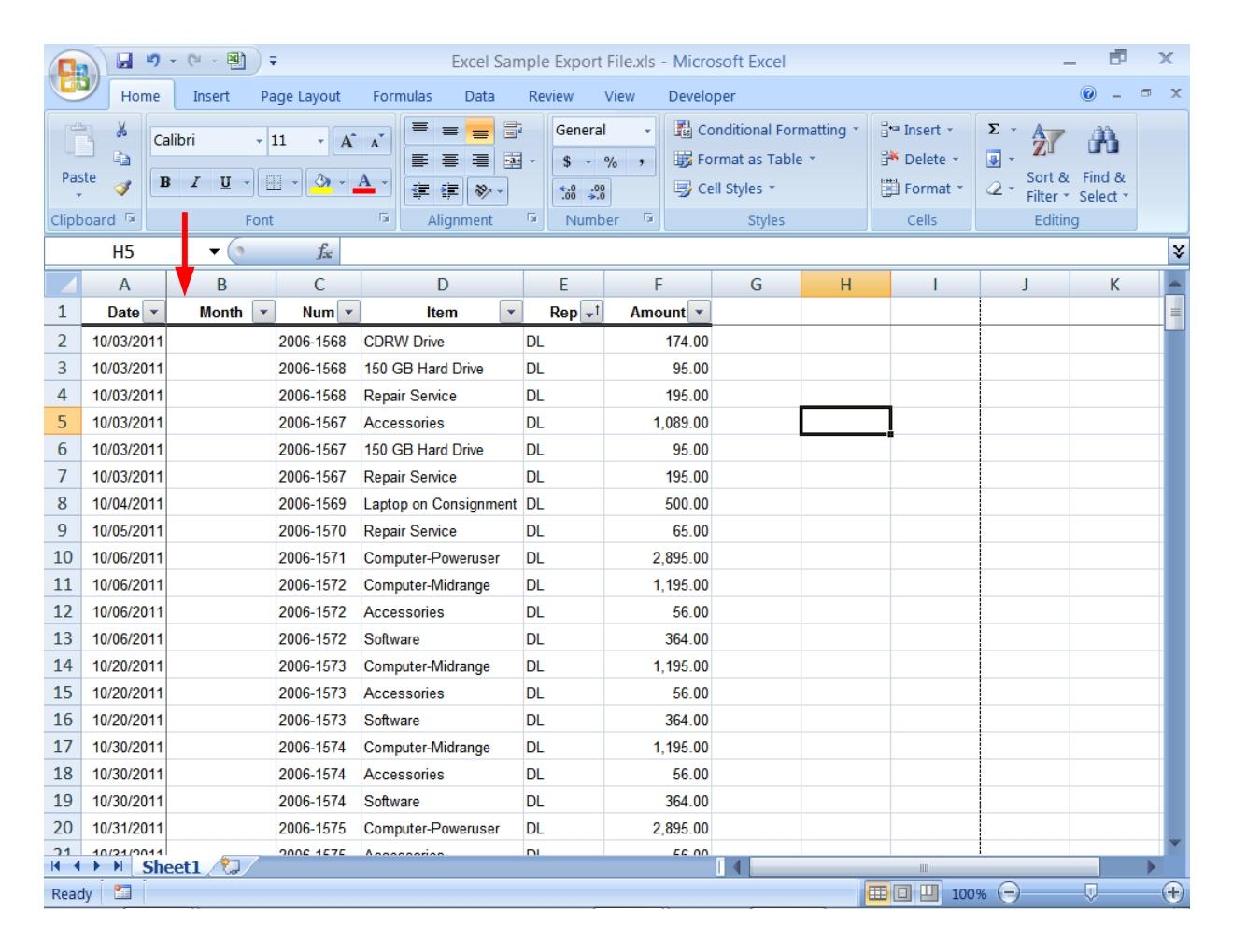 Spreadsheet Worksheet