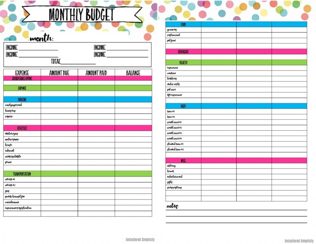 Printable Budget Spreadsheet Inside Free Printable Budget
