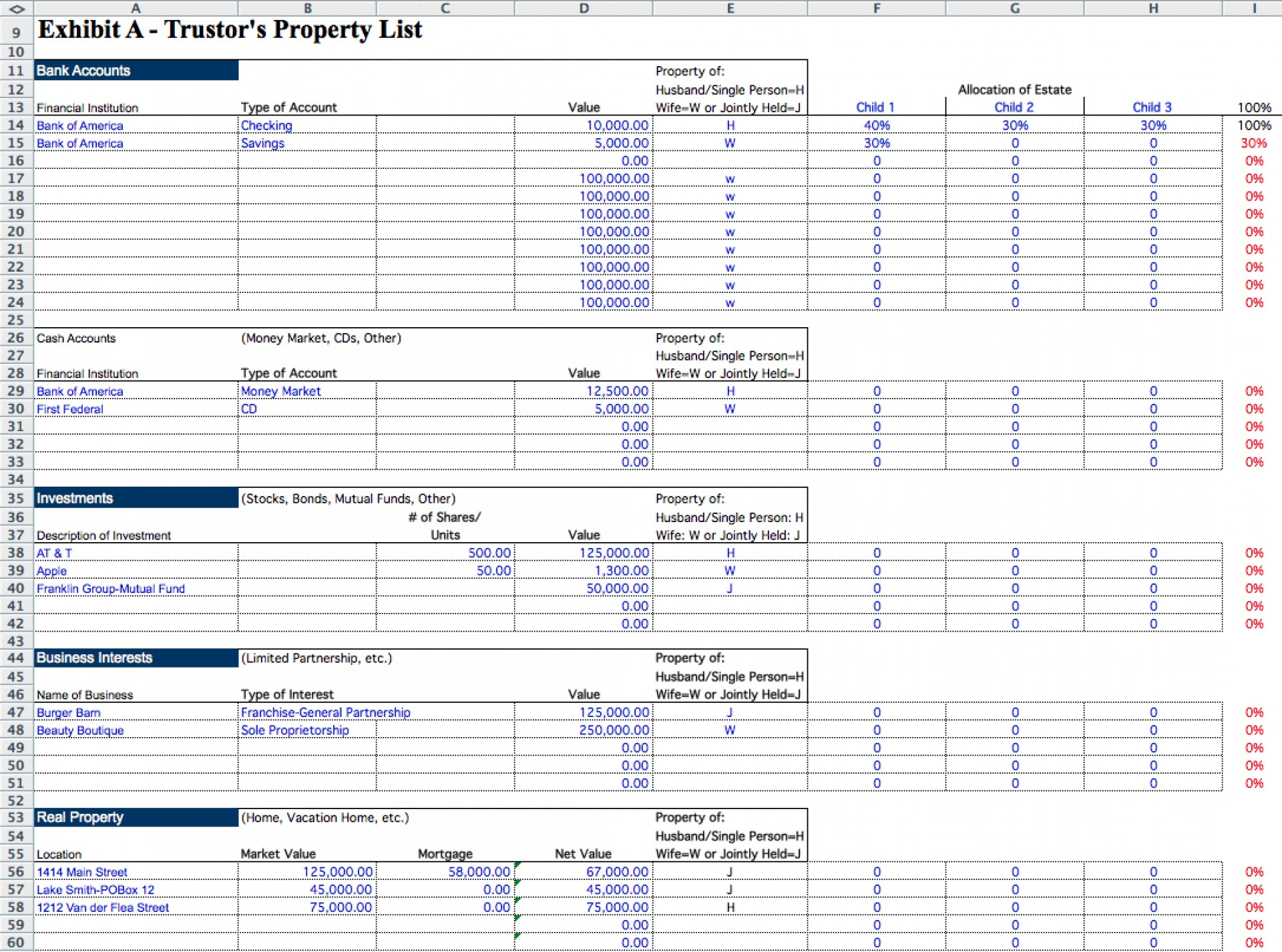 Probate Spreadsheet Template Db Excel