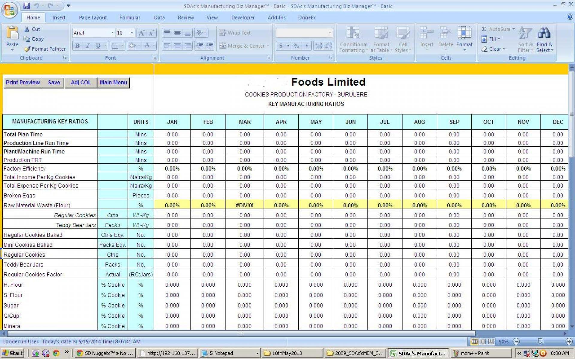 Production Tracking Spreadsheet