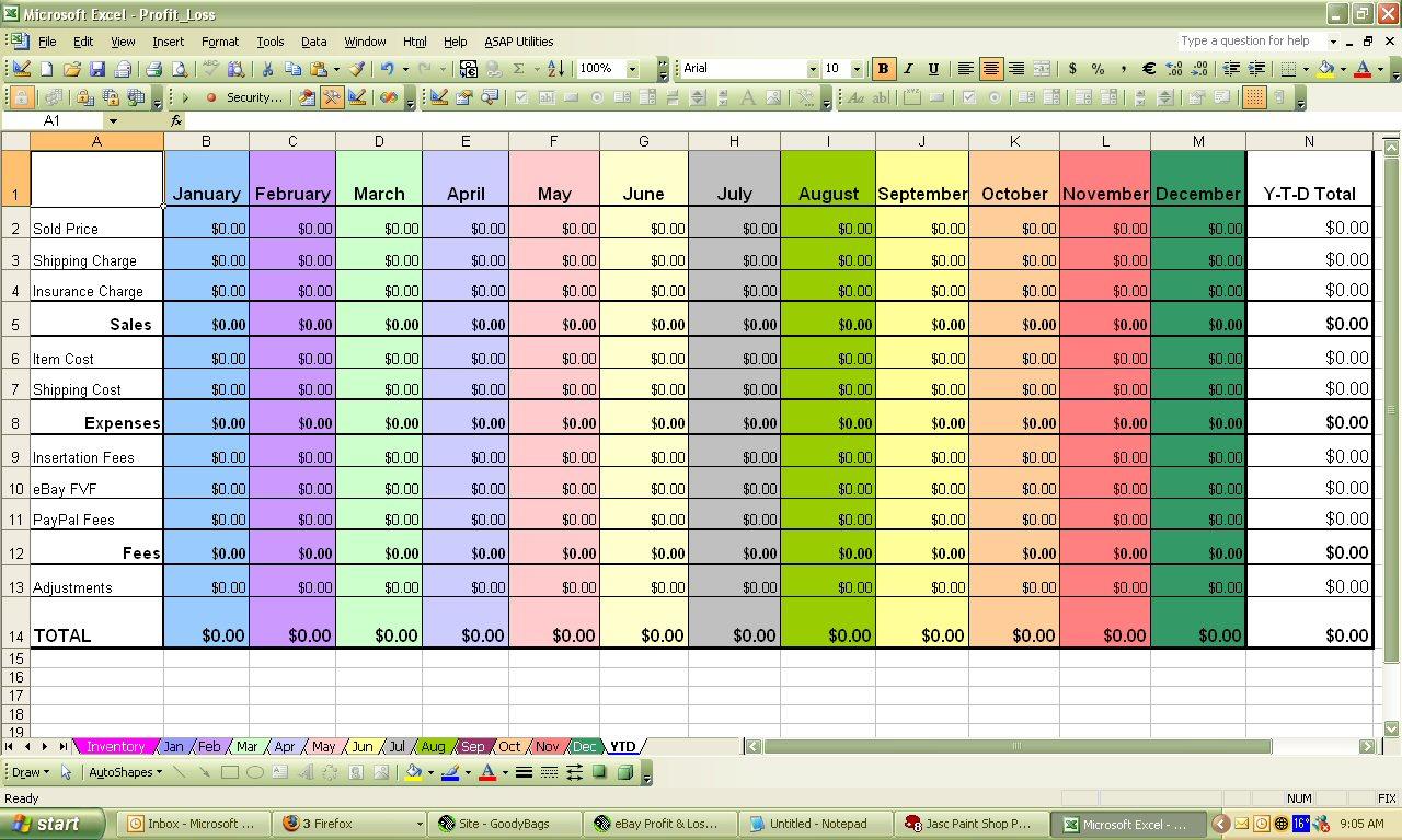 Profit Spreadsheet For Ebay Profit Loss Excel Spreadsheet