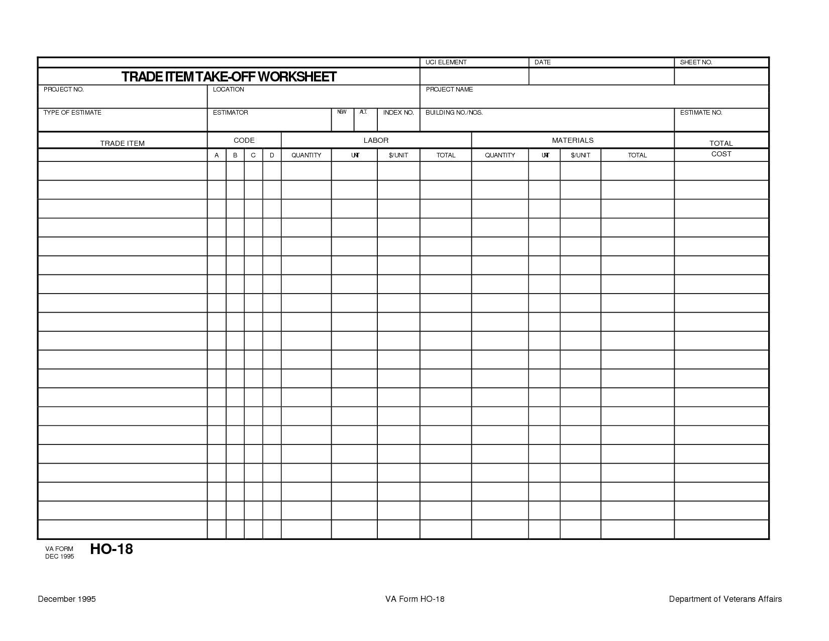 Quantity Surveyor Excel Spreadsheets Spreadshee