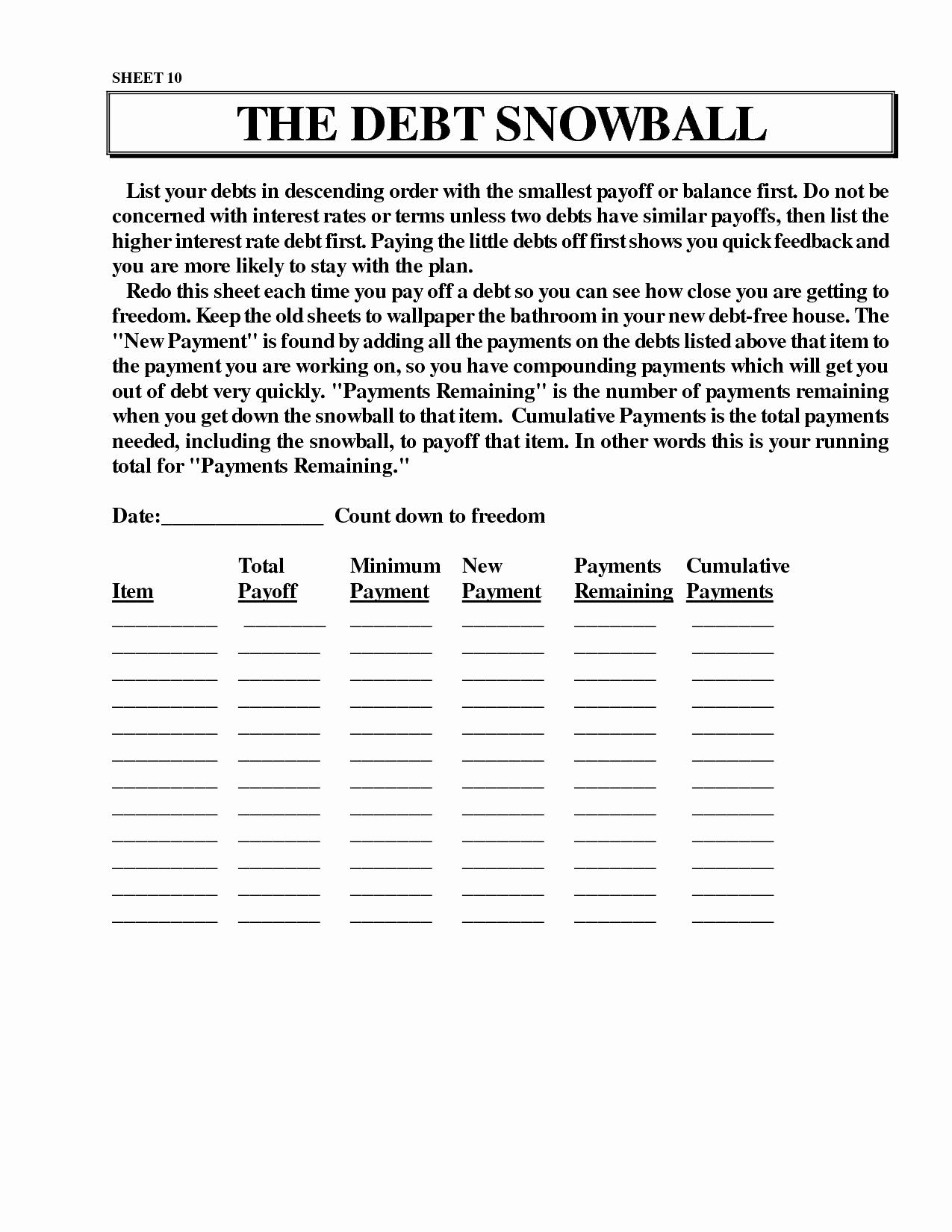 Ramsey Snowball Spreadsheet