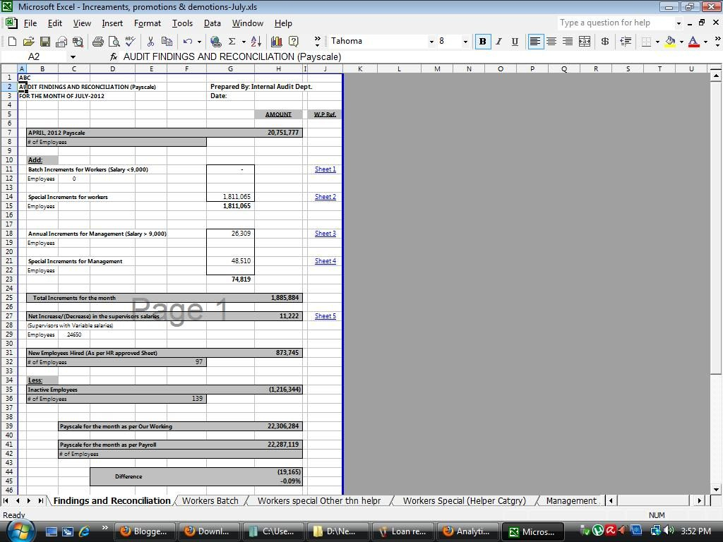 Reconciliation Excel Spreadsheet In Payroll Reconciliation