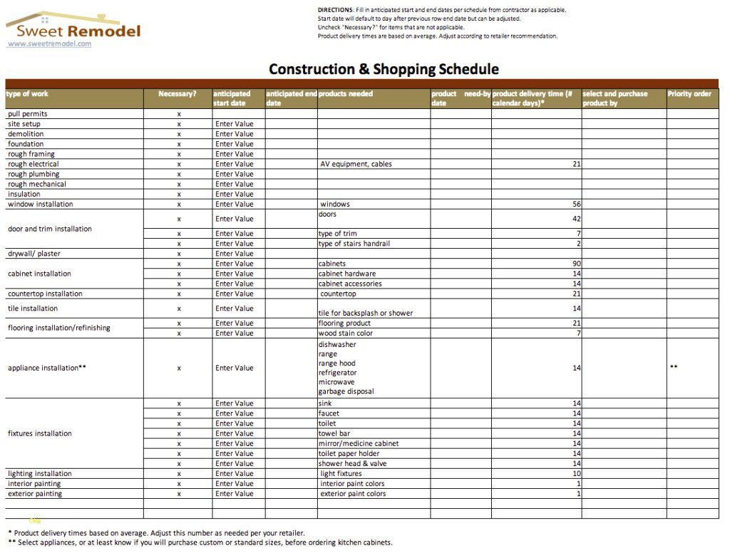 Remodeling Budget Spreadsheet Excel In House Construction