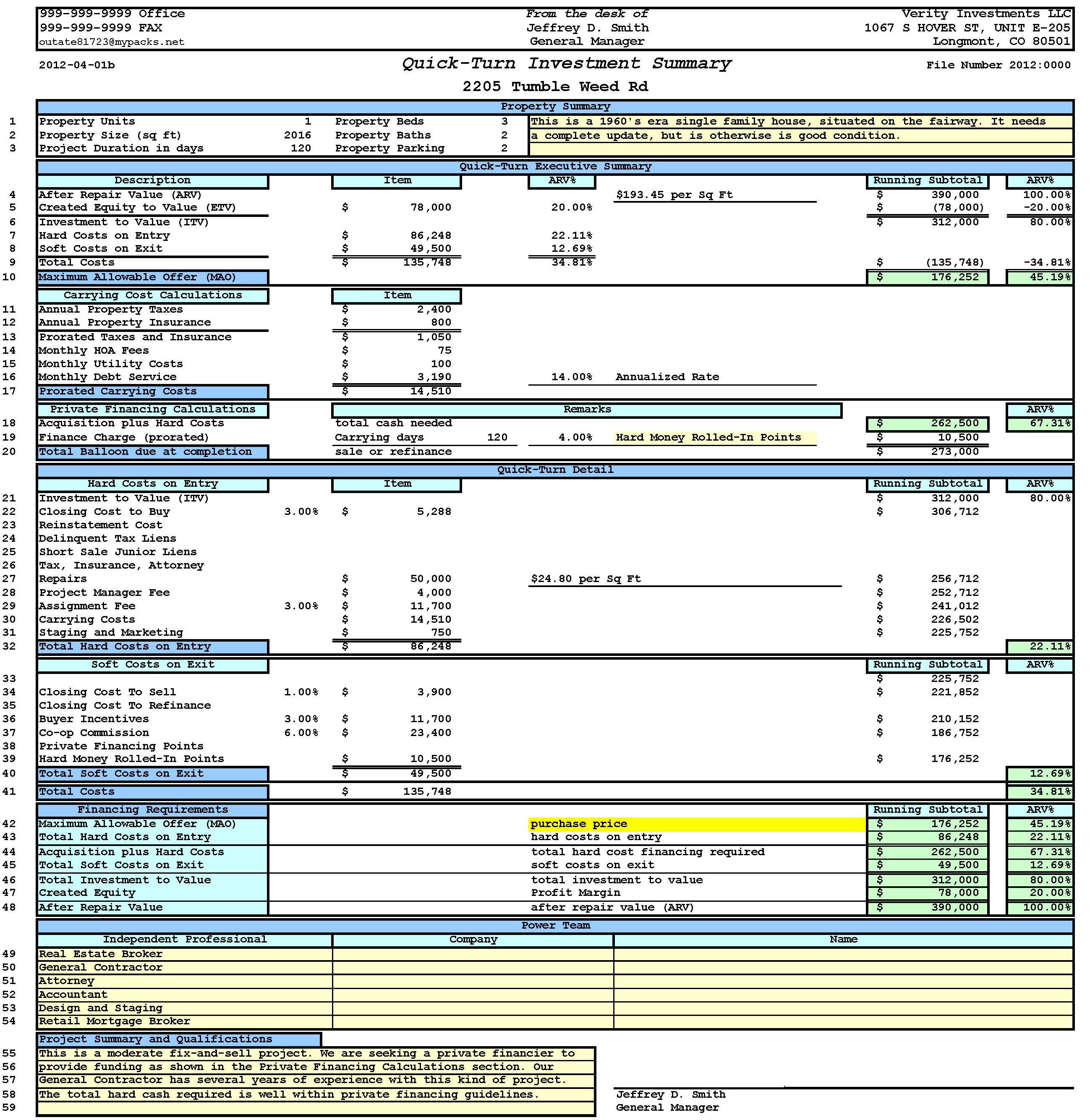 Small Business Cash Flow Worksheet