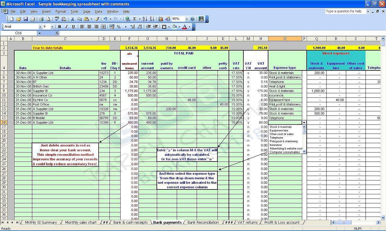 Restaurant Accounts Spreadsheet Db Excel