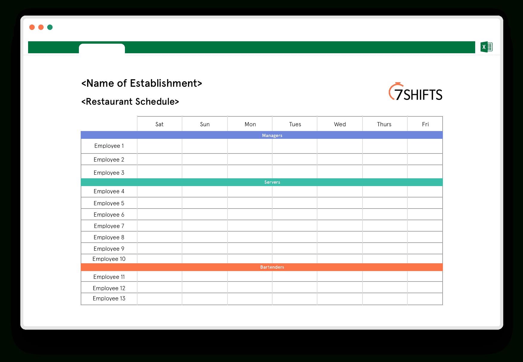 Restaurant Spreadsheets Inside Restaurant Schedule Excel