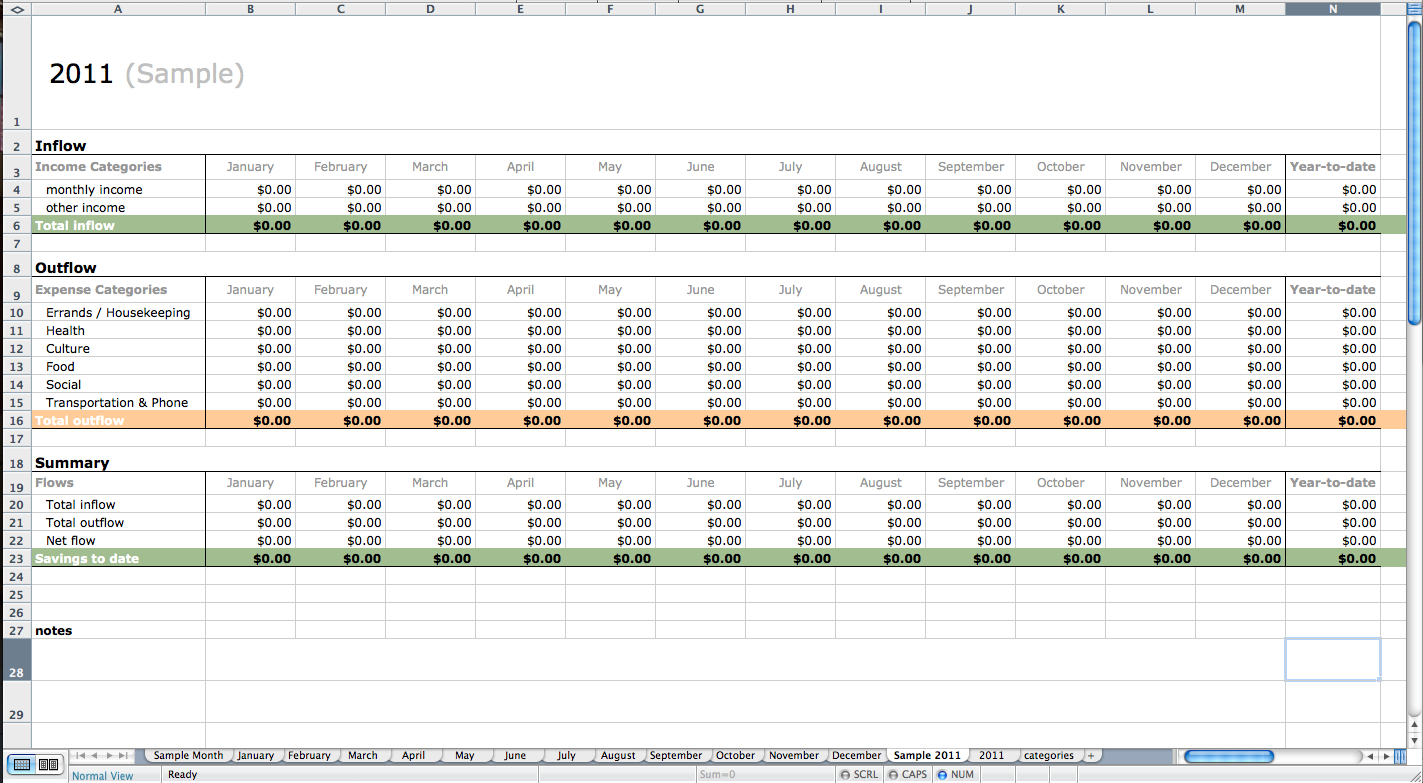 Sample Excel Accounting Spreadsheet