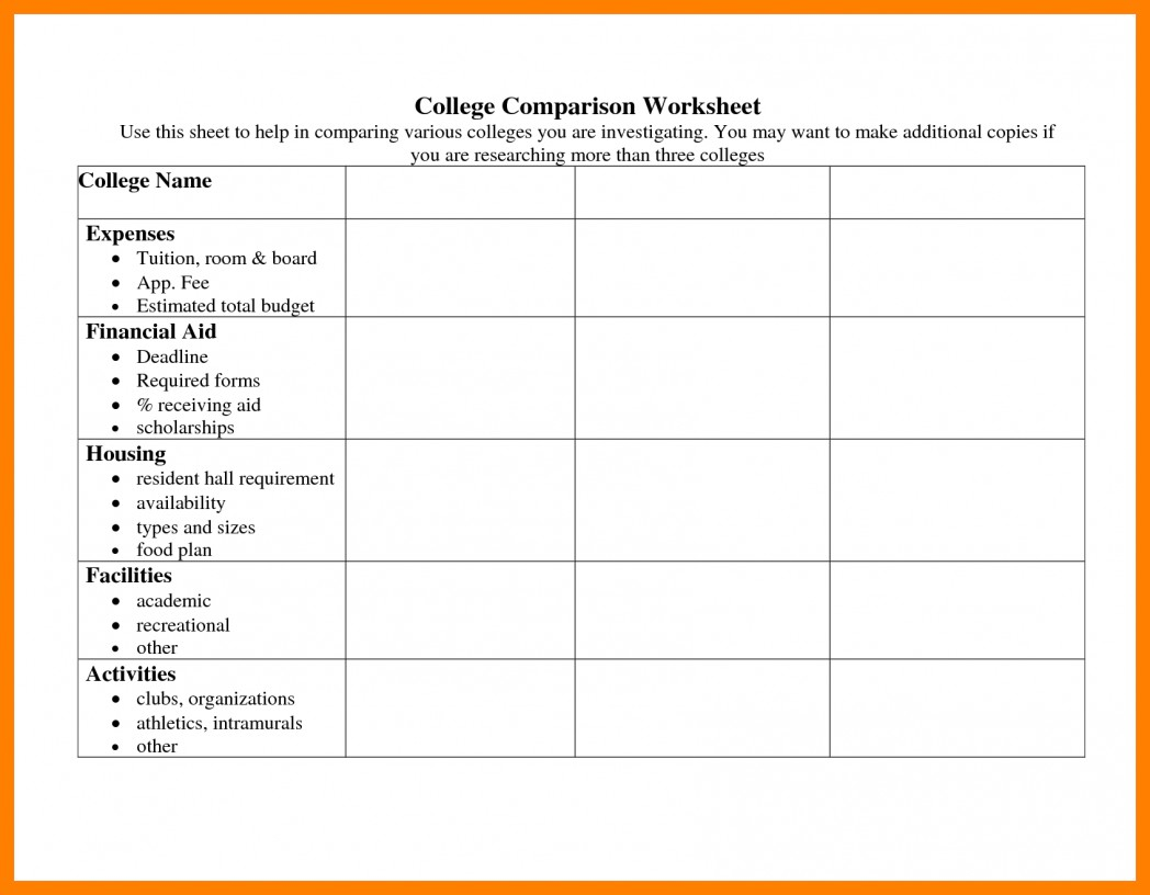 School Comparison Spreadsheet Throughout College Cost
