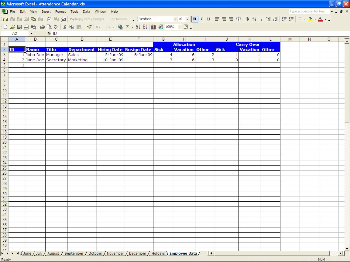 Sickness Absence Recording Spreadsheet Spreadsheet Downloa