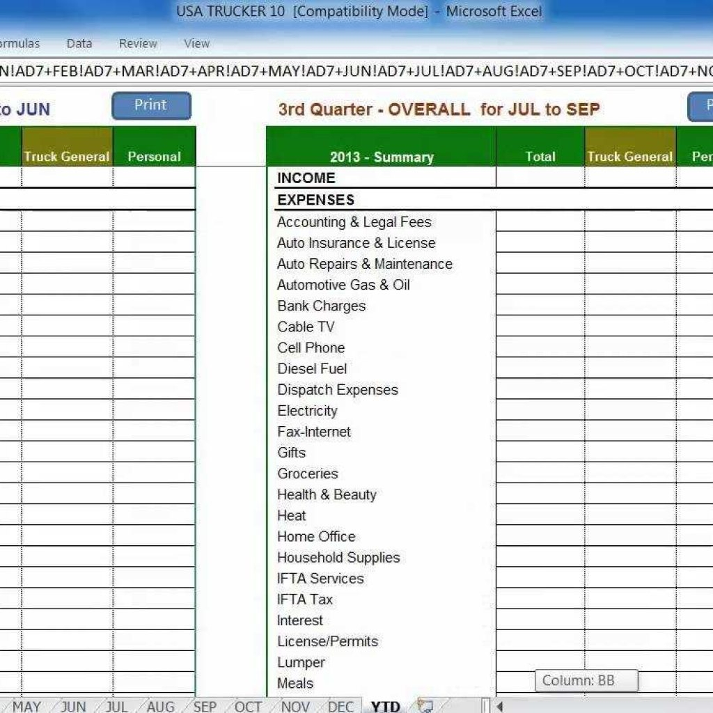 Spreadsheet For Truckers Intended For Accounting Software